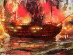Pintura de Daniel Parra del Santísima Trinidad en la Batalla de Trafalgar disparando fuego
