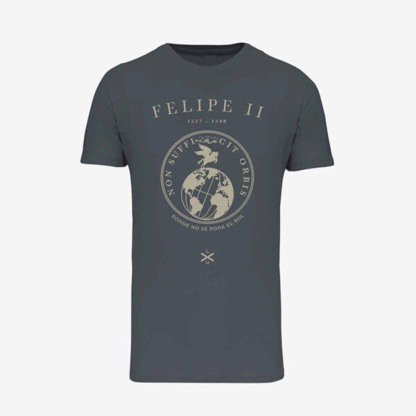 Camiseta de manga corta unisex de color gris con homenaje a Felipe II de Legado Hispánico