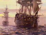 Óleo de un paisaje de mar en atardecer con dos navíos de guerra de la edad moderna