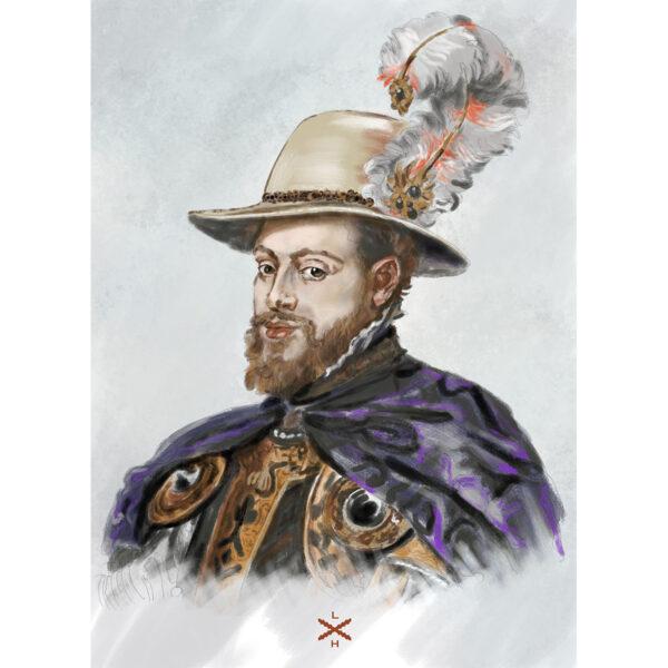 Lámina retrato Felipe II Rubens
