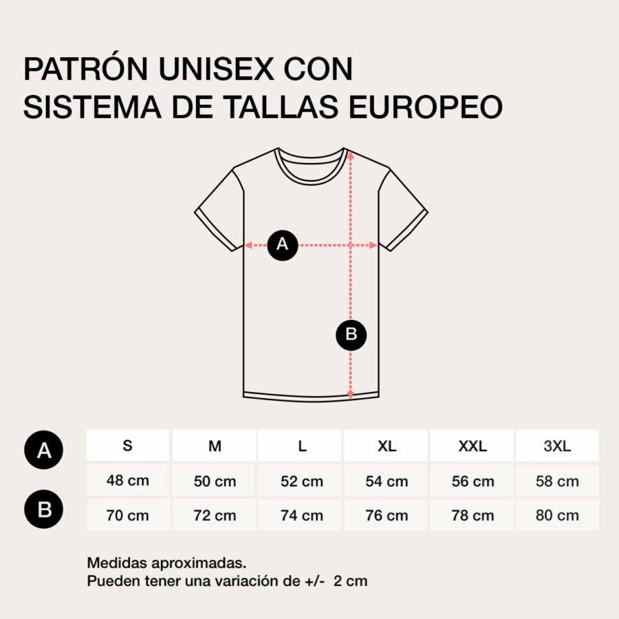 Sistema de tallas europeo del patrrrón. unisex